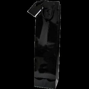 Poche 1 bouteille noir mat sans fenêtre avec poignées en corde