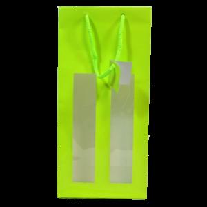 Poche verte pour 2 bouteilles avec fenêtres et poignées en corde