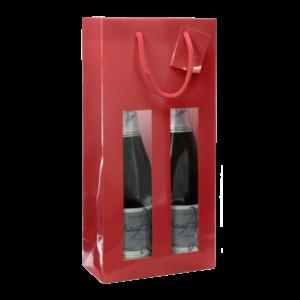 Poche rouge 2 bouteilles avec fenêtres et poignées en corde