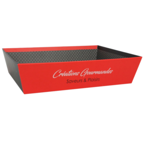 """corbeille carton rouge décor """"Créations Gourmandes"""" pour coffret de Noël"""