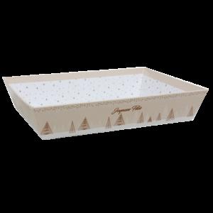 corbeille carton crème décor Joyeuses Fêtes lot de 30 pour coffret