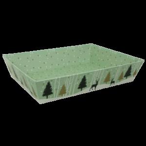 corbeille de noël vert d'eau décor forêt enneigée pour coffret
