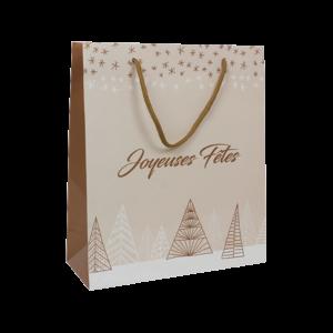 Sac de Noël en carton décor Joyeuses Fêtes