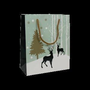 Sac carton vert d'eau décor Forêt enneigée pour Noël